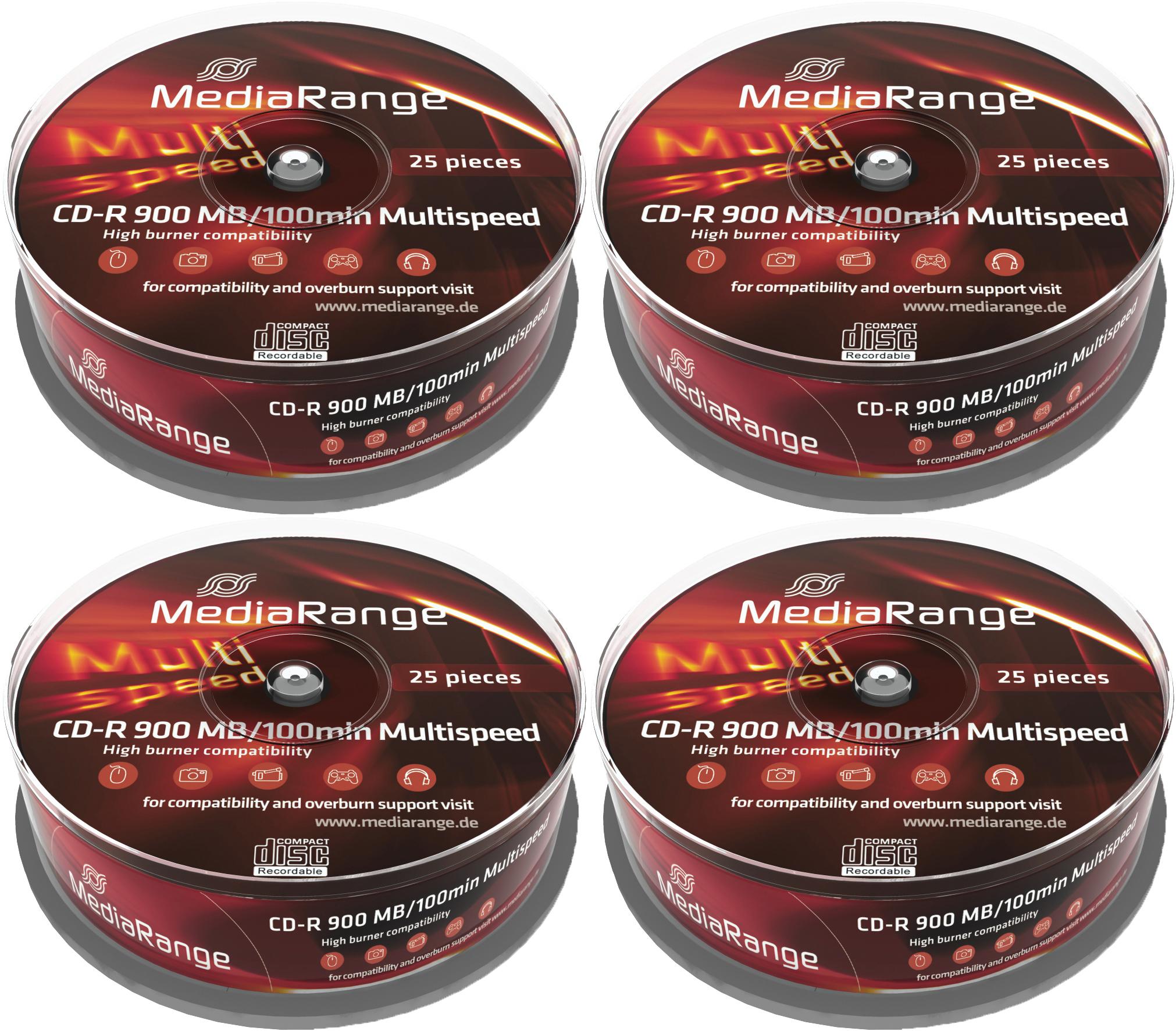 100 MediaRange CD R 900MB 100Min 48x Spindel